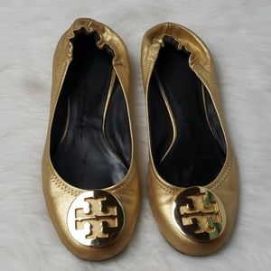 Tory Burch Reva Ballet Flats Tumbled Leather 7M